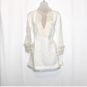 Tory Burch Linen fringe pullover boho Lester tunic
